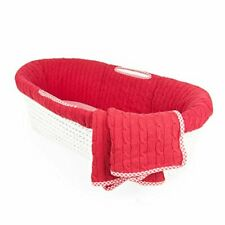Tadpoles Cable Knit Moses Basket Bedding Only Set Red