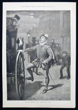 FANCY DRESS BALL MANSION HOUSE LONDON HANSOM CAB TAXI VICTORIAN PRINT 1883