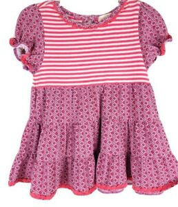 Matilda Jane 2 Friends Forever Dulce Tiered Tunic Top Pink Purple Floral Striped