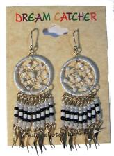 1 PAIR WHITE DREAM CATCHER EARRINGS W SEED BEADS surgical steel womens EARRING