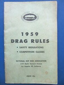 1959 NHRA DRAG RULES Safety Regulations, Competition Classes, Booklet - Rare