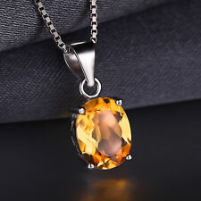 2.4ct Natural Citrine Oval Necklace Pendant 925 Silver special occasion ladies