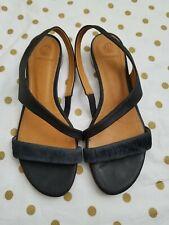 Coclico women's black Leather Slingback Sandals Size EU 38