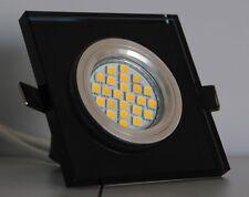 Kristall Einbaustrahler Glas Spot Lampe edles Schwarz Quadratisch -#4003