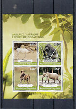 Togo 2014 MNH Endangered Animals of Africa 4v M/S Addax Gorilla Elephant Hyena