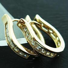 FS760 GENUINE REAL 18K YELLOW G/F GOLD DIAMOND SIMULATED HUGGIE HOOP EARRINGS