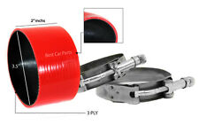 """RED Silicone Coupler Hose 3.5"""" 89 mm + T-Bolt Clamps Air Intake Intercooler MT"""