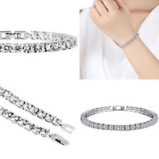White Gold Plated Crystal Tennis Bracelet Made With Swarovski Elements Prom