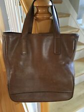 COACH BROWN LEATHER TOTE BAG 2 LARGE COMPARTMENTS ONE MIDDLE ZIP URBAN LOOK