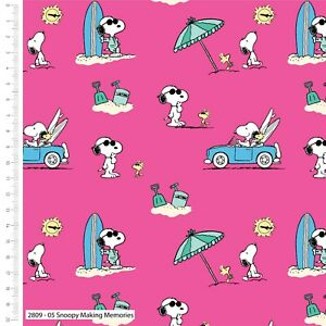 Fabric Snoopy Woodstock 100% Cotton 112cm wide #2809-05 Making Memories Pink