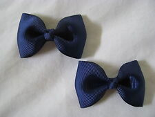 toddler little girl hair accessories navy blue bow clips medium
