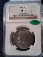 1958 NGC MS66  CAC  Franklin Half Dollar ~~~ CAC