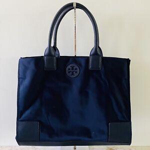 TORY BURCH Solid Blue Ella Extra Large Nylon Tote Bag Small Logo