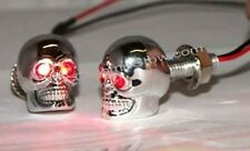Small Skull LED Motorcycle License Plate / Tag Bolts - Red Eyes