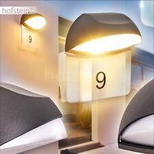Design Außen Wand Lampen LED Hof Garten Terrassen Hausnummern Leuchte mit Schild