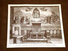 Rara veduta di fine '800 San Marino Un Lato Sala nel Nuovo Palazzo del Consiglio