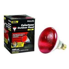 RED Philips Colortone 100W Red Outdoor Flood Light 100PAR/R Christmas Halloween
