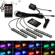 4x 9 LED Car Light Interior Atmosphere SUV Floor Strip Lamp Remote Music Control