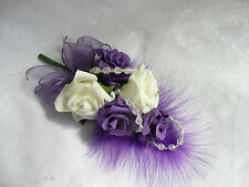 Wedding Flower Buttonholes Corsage Ivory & Purple..... Pin on A