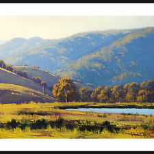 LARGE LANDSCAPE PAINTING  AFTERNOON SUNLIGHT LITHGOW AUSTRALIAN ART