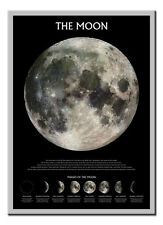 The Moon Phases Poster Silver Framed Ready To Hang Frame Free P&P