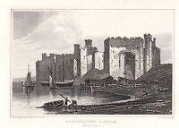 1840 Vittoriano Stampa ~Caernarvon Castle~ Caernarvonshire Galles Navicelle