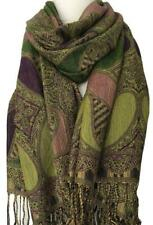 Large Scarf Green Aubergine Purple Floral Ladies Shawl Lime Wrap Oversized