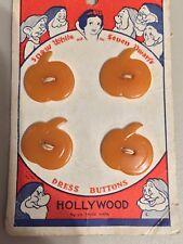 """RARE"" Vintage Disneyana Snow White bakelite buttons 1937. New on the card."