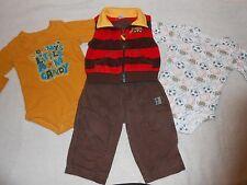 Boys lot of 4 size 12 mo, pants, shirts, vest, Mommy, Carter's, Wonderkids #426