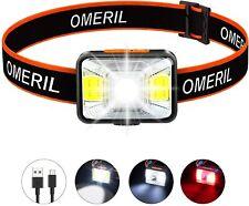 OMERIL Stirnlampe LED Wiederaufladbar USB Kopflampe wasserdichte Stirnlampe