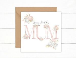 Birthday Card Mum Happy Birthday Pink Floral Watercolour Letters Special