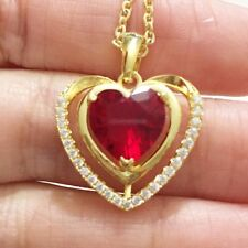 "Red Ruby Heart Diamond Halo Pendant Necklace 14K Yellow Gold Plated 18"" YR44"