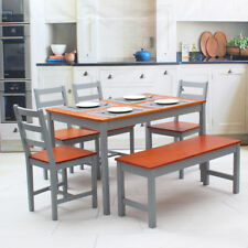Grey Brown Solid Wooden Dining Table and 4 Chairs 1 Bench Set Dinning Furniture