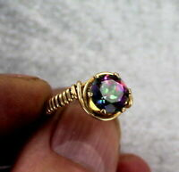 Mystic Fire Blue Topaz Gemstone Ring in 14kt. Rolled Gold   Size 5 to 15