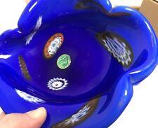 Vintage Mid-Century Murano Millefiori Art Glass Bowl / Ashtray NOS W/ Foil Label