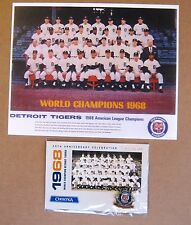 1968 Detroit Tigers  World Series Champions Team 8 x 10 Color Photo + Pin