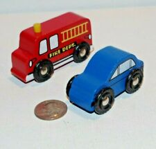 Wooden Railway Lot x2 Police Car & Fire Truck works w Thomas Train Friends Brio