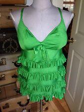 betsey johnson fantastic kelly green all ruffle tankini bathing suit top L