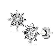 Steel Post Stud Earrings Silver Tone Pair Cz Centered Yacht Wheel 316L Stainless