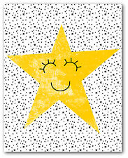 Happy Nursery Star Print, Nursery Nordic Star Art, 8 x 10 Inches, Unframed