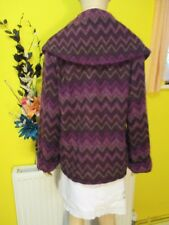 MONSOON NWT PURPLE ZIGZAG PATTERN WOOL MIX COAT SZ 14 WINTER HOLIDAYS CRUISE