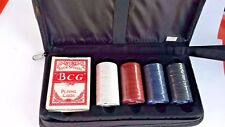 Older Poker Chip Set and playing cards  sealed with carrying case