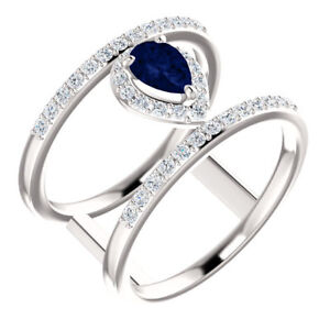 Chatham Created Blue Sapphire & 1/3 CTW Diamond Ring In Platinum