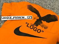 NIKE LAB X OFF WHITE NRG A6 TEE L T-SHIRT LARGE ORANGE EAGLE BQ0827-852