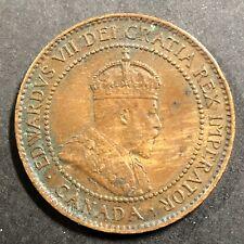 Canadian 1905 1 Cent Large Copper Penny King Edward VII