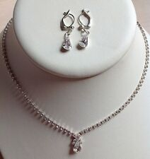 Teardrop Rhinestone Necklace Earings Simple Elegant Wedding Bridal Pageant Prom