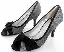 NEW BERTIE SIZE 3 36 WOMENS GREY SUEDE BLACK SATIN PEEPTOES SLIP ON COURT SHOES