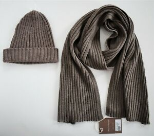 $170 New FLORENCE CASHMERE Brown WOOL CASHMERE Knit BEANIE HAT + SCARF SET