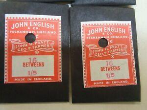 6 PACKS VINTAGE JOHN ENGLISH 16 BETWEENS 1/5 HAND SEWING NEEDLES UNOPENED
