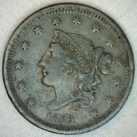 1839 United States Coronet Head Large Cent Copper Coin 1c US Coin VF Very Fine